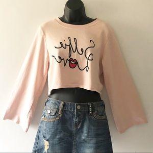 """💥5/$25 MONKI Pink """"Selfie Love"""" Crop Sweatshirt S"""